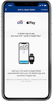 Apple Pay set-up screen on iPhone with a Citi card